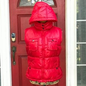 RED VEST with detachable hoodie.  🥶